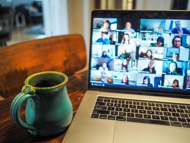 Zoom meeting with coffee mug - small